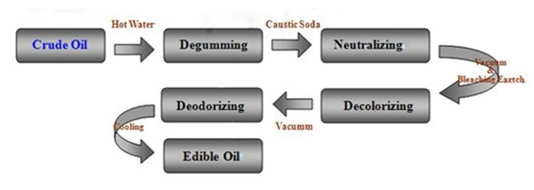 Process of production of Crude Sunflower Oil to RBD Sunflower Oil